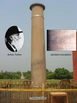 Anton Fuhrer defined Ashokan Pillar in Lumbini as the marker where Buddha was born 200 yrs after Bhuddha's death