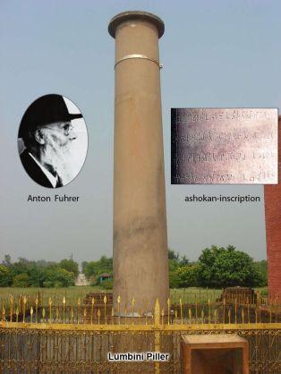 Anton Fuhrer defined Ashokan Pillar in Lumbini as the marker where Buddha was born 200 yrs after Bhuddha's death