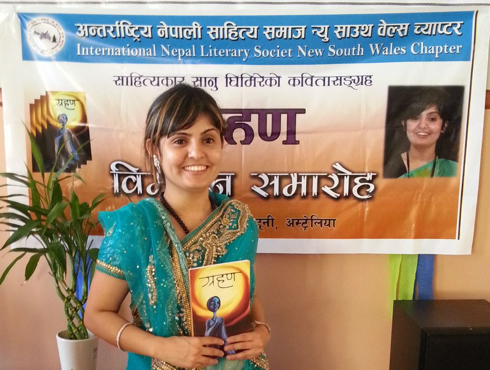 Poet with her book